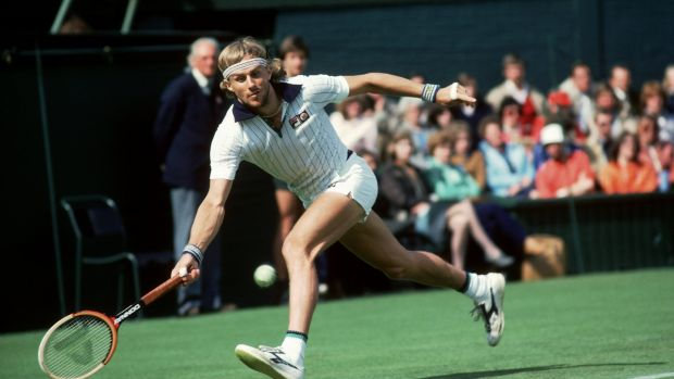 Sweden's Björn Borg in action during the 1981 Wimbledon Championshops. Photograph: Tony Duffy /Allsport