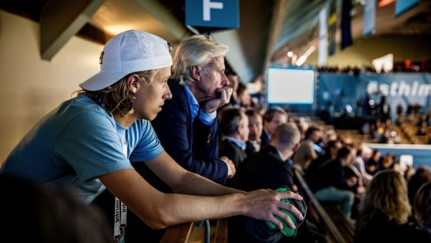 Björn Borg takes a back seat when it comes to his son Leo's coaching. Photograph: Casper Hedberg/The New York Times