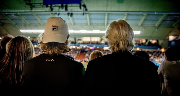 cb0ffd122850 Leo Borg and his father, Björn Borg, watch a Stockholm Open match.  Photograph