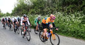 Holdsworth's Damien Shaw leading in the Rás Tailteann earlier this year.  Photograph: Bryan Keane/Inpho