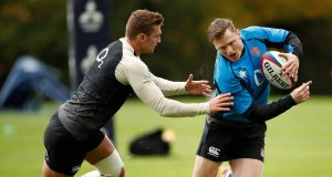 England's Henry Slade and Chris Ashton during squad training in Bagshot, Surrey. Photograph: Andrew Boyers/Reuters