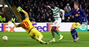 Odsonne Edouard scores  Celtic's second goals past Yvon Mvogo of RB Leipzig during the Europa League Group B match at Celtic Park. Photograph: Ian MacNicol/Getty Images