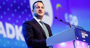 Taoiseach Leo Varadkar  delivers a speech during the European People's Party (EPP) congress in Helsinki, Finland. Photograph: Roni Rekomaa/Bloomberg.