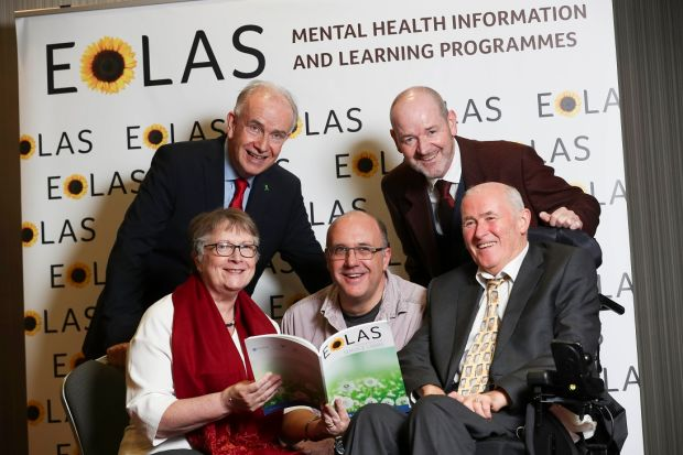 Left to right: Dr John Hillery, president of The College of Psychiatrists of Ireland; Professor in Mental Health TCD Agnes Higgins; Finn Vangelderen, Eolas Facilitator; Tony Leahy, Mental Health Service, HSE; and Pat Gibbons, Consultant Psychiatrist, HSE. Photograph: Conor McCabe Photography.