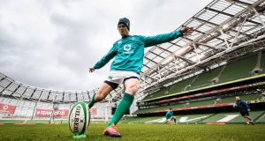 Johnny Sexton during Friday's captain's run ahead of Ireland's clash with Argentina. Photograph: Billy Stickland/Inpho