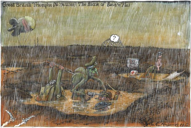 Galway Cartoon Festival: the Guardian's Martin Rowson links Britain being bogged down in the slimy trenches of the first World War and the invidious position of Theresa May's government over Brexit