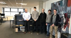 Kastus staff Dr James Kennedy, William Denning and  Dr Nigel Leyland with Science Foundation Ireland fellows Dr Ehsan Rezvani and Dr Aran Rafferty.