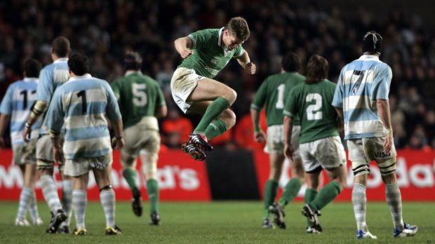 Ireland's Ronan O'Gara celebrates his last minute match-winning drop goal at Lansdowne Road in 2004. Ireland won 21-19. Photograph: Tom Honan/Inpho