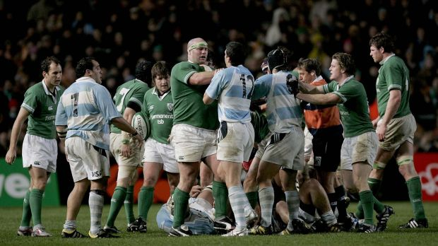 John Hayes tussles with Manuel Contepomi of Argentina during the November international of 2004 which sparked six accusations of eye-gouging. Photograph: Morgan Treacynpho