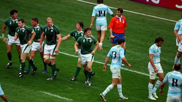 Ireland's Brian O'Driscoll shouts at the Argentina players after he scored his try during the World Cup defeat in Paris in 2007. Photograph: Dan Sheridan/Inpho