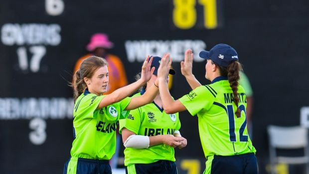 Lucy O'Reilly and Lara Maritz celebrate Ireland's victory over Sri Lanka in the Women's World Twenty20 warm-up game against Sri Lanka in Antigua. Photograph: Cricket Ireland/ICC