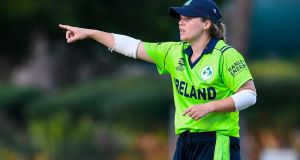 Ireland captain Laura Delany gives instructions during the Women's World Twenty20 warm-up game against Sri Lanka in Antigua. Photograph: Cricket Ireland/ICC