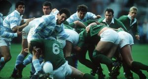 Ireland's match against Argentina in 1990 was the first time that the IRFU handed out caps for games against the Pumas. Photograph: Billy Stickland/Inpho