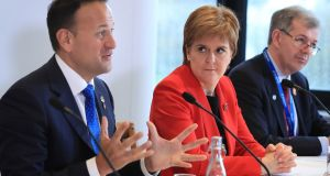 Taoiseach Leo Varadkar and First Minister of Scotland Nicola Sturgeon at the British Irish Council's 31st summit meeting. Photograph: Peter Byrne/PA Wire