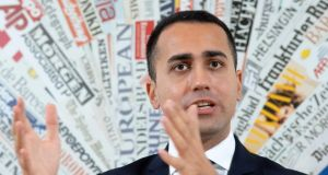 Italy's deputy prime minister Luigi Di Maio gestures during a press conference on Friday. The Italian government and the European Commission are on a collision course. Photograph: Getty