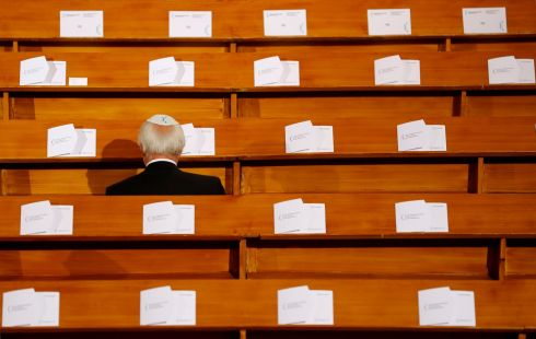 KRISTALLNACHT ANNIVERSARY: A man is pictured before a ceremony to mark the 80th anniversary of Kristallnacht, at Rykestrasse Synagogue, in Berlin, Germany. Photograph: Fabrizio Bensch/Reuters
