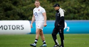 England head coach Eddie Jones and co-captain Dylan Hartley during training at  Pennyhill Park Hotel, Bagshot. Photograph: Andrew Boyers/Action Images via Reuters