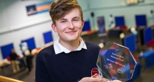 Adam Kelly, a fifth year student from Skerries Community College, is the overall winner at SciFest 2018 Photograph: Keith Arkins