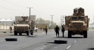 Yemeni pro-government forces take part in military operations. Photograph: EPA