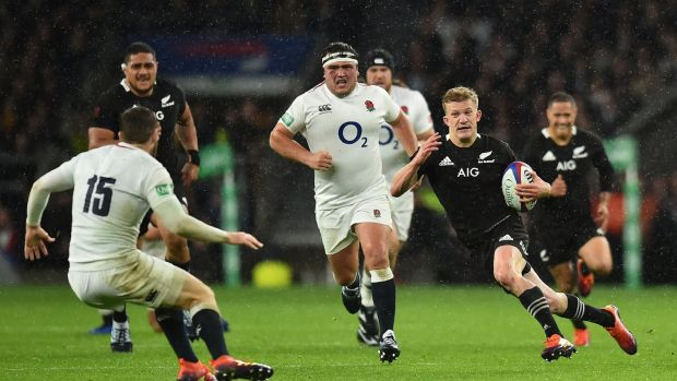 New Zealand fullback Damian McKenzie makes a break during the autumn international against England at Twickenham. Photograph: Glyn Kirk/AFP/Getty Images