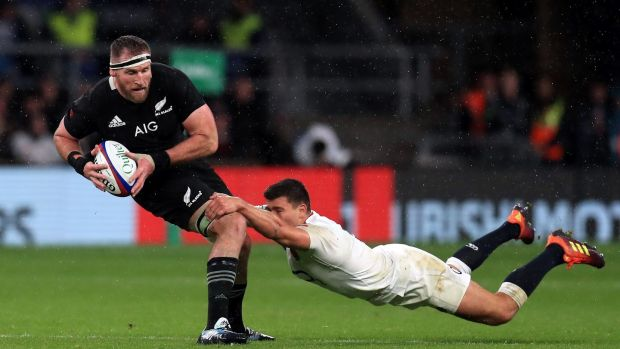 England's Ben Youngs tackles New Zealand's Kieran Read during the autumn international at Twickenham. Photograph: Mike Egerton/PA Wire