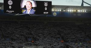 An image of Leicester City's late Thai chairman Vichai Srivaddhanaprabha is shown on the scoreboard at King Power Stadium. Photograph: Getty Images