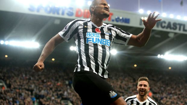 Newcastle United's Salomon Rondon celebrates scoring his side's second goal at St James' Park. Photograph: PA