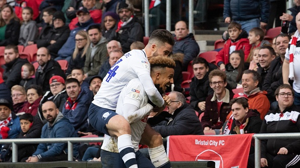Preston North End's Callum Robinson after scoring against Bristol City. Photograph: Getty Images