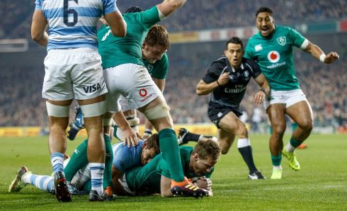 Ireland's Kieran Marmion gets over for the game's opening try in the autumn international against Argentina.  Photograph: James Crombie/Inpho