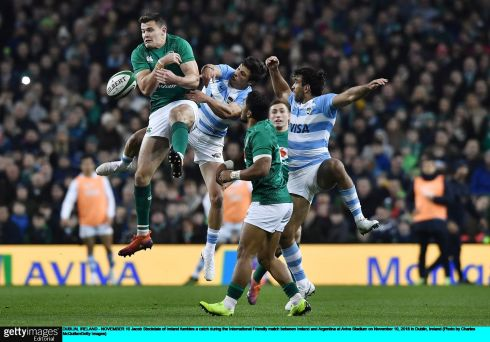 Ireland's Jacob Stockdale fumbles a catch during the autumn international againsy Argentina at the Aviva stadium. Photograph: Charles McQuillan/Getty Images