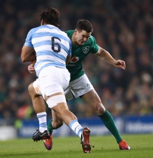 Ireland's Johnny Sexton tackles Argentina's Pablo Matera. Photograph: James Crombie/Inpho