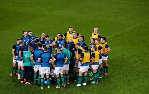 Ireland huddle ahead of the game. Photograph: Ryan Byrne/Inpho