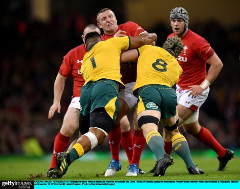 Hadleigh Parkes of Wales is tackled by Scott Sio and David Pocock of Australia during during the Test match against Wales at the Principality stadium in Cardiff. Photograph: Dan Mullan/AFP/Getty Images