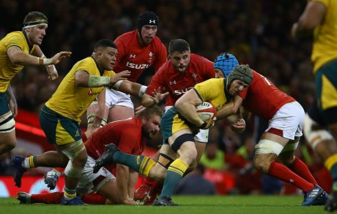 Wales flanker Justin Tipuric tackles Australia's Michael Hooper during the Test match at the Principality stadium in Cardiff. Photograph: Geoff Caddick/AFP/Getty Images