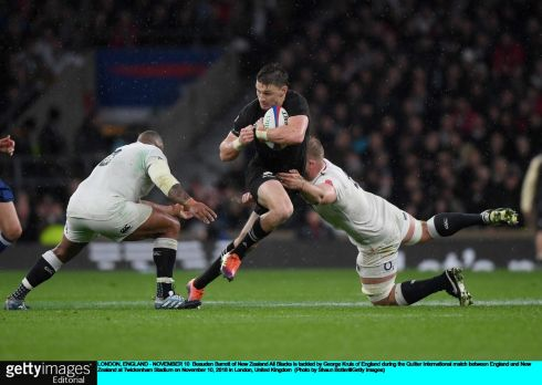 Beauden Barrett of New Zealand is tackled by George Kruis of England during the Test match at Twickenham. Photograph: Shaun Botterill/Getty Images