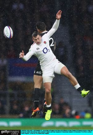 onny May of England and Sonny Bill Williams of New Zealand jump for a high ball during the Test match at Twickenham. Photograph: Phil Walter/Getty Images