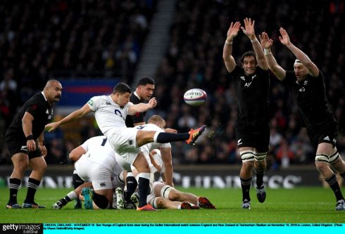 Ben Youngs of England kicks clear during the Test match at Twickenham. Photograph: Shaun Botterill/Getty Images