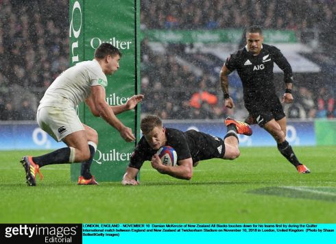 Damian McKenzie of New Zealand All Blacks touches down for his team's first try. Photograph: Shaun Botterill/Getty Images
