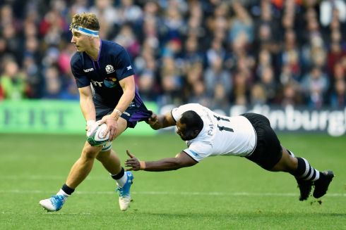 Jamie Ritchie of Scotland is tackled by Vereniki Goneva of Fiji during the Test match at Murrayfield. Photograph: Ian Rutherford/PA Wire