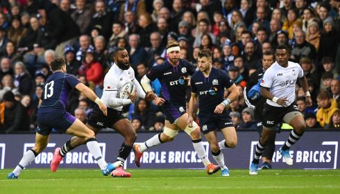 Fiji centre Semi Radradra runs with the ball during the Test match against Scotland at Murrayfield. Photograph:Andy Buchanan/AFP/Getty Images