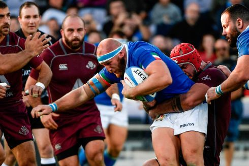 Italy's hooker Leonardo Ghiraldini  is tackled during the Test match in Florence. Photograph: Filippo Monteforte//AFP/Getty Images