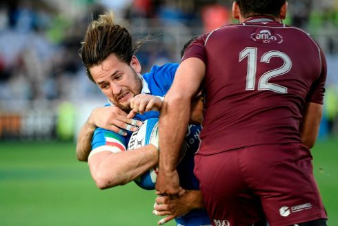 Italy's centre Michele Campagnaro is tackled during during the Test match against Georgia in Florence. Photograph: Filippo Monteforte//AFP/Getty Images
