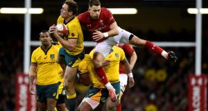 Wales' Liam Williams in action with Australia's Dane Haylett-Petty during the autumn international at the  Principality Stadium in Cardiff. Photograph: Rebecca Naden/Reuters
