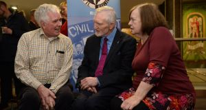 Homelessness campaigner Peter McVerry, human rights campaigner Michael Farrell and migrant rights campaigner Bernadette McAliskey at the We Shall Overcome seminar in Liberty Hall, Dublin. Photograph: Dara Mac Dónaill