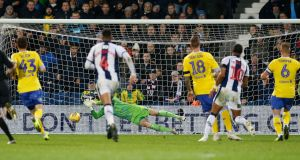 West Bromwich Albion's Matt Phillips scores his team's second goal against Leeds at The Hawthorns. Photograph: PA