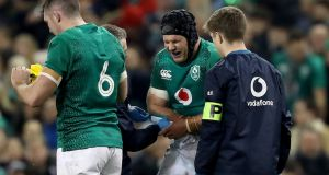 Seán O'Brien broke his arm during Ireland's win over Argentina in Dublin. Photograph: Bryan Keane/Inpho