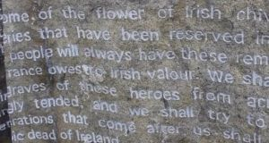 The words of Marshal Foch are carved in stone at the bottom of the Franco-Irish memorial which was unveiled at Glasnevin cemetery in 2016.