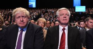 Former UK foreign minister Boris Johnson and former Brexit minister David Davis.