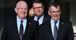 Minister for Justice Charlie Flanagan and Garda Commissioner Drew Harris, along with PSNI temporary deputy chief constable Stephen Martin, at the Slieve Donard Hotel in Newcastle, Co Down, during the cross-Border conference on organised crime last week. Photograph: Brian Lawless/PA Wire