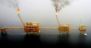 Oil production platform at the Soroush oil fields in the Persian Gulf: The boom in US shale output complicates the challenge for Opec and its allies. Photograph: Raheb Homavandi